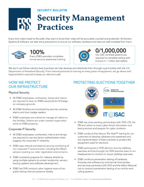 Cover page of ES&S Security Management Practices fact sheet.
