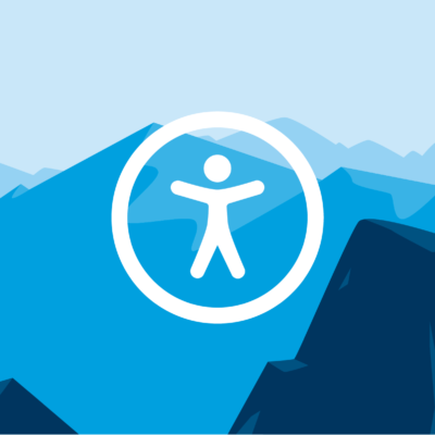 The symbol for accessibility superimposed on an illustration of mountain peaks