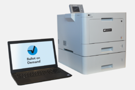 Ballot on Demand system featuring BOD9310 color printer, laptop, and proprietary BOD software
