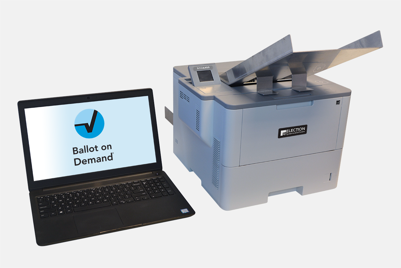 Ballot on Demand system featuring BOD6400 B/W printer, laptop, and proprietary BOD software
