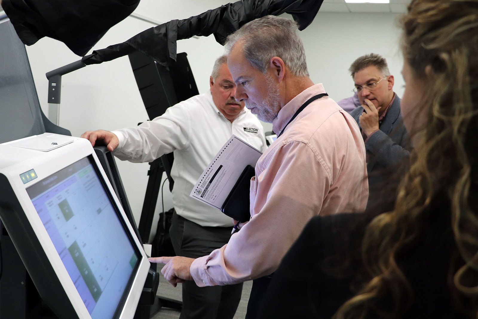 Cumberland County Commissioner Vince DiFilippo experiences voting on an ExpressVote XL during a product demonstration in June 2019. Photo courtesy of Cumberland County.
