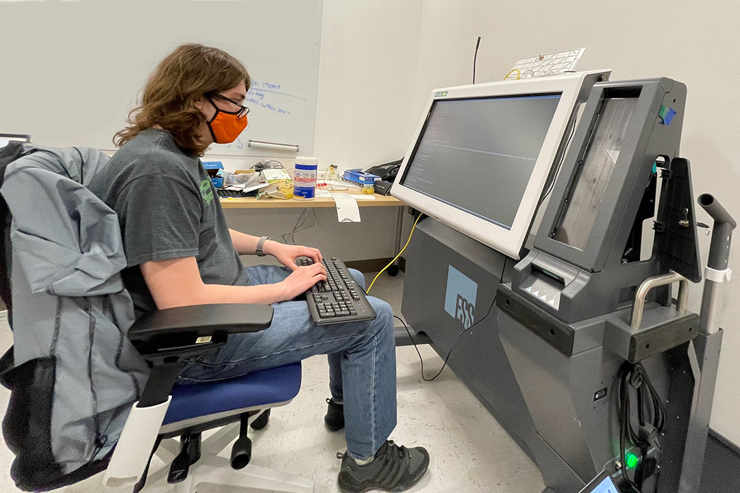 Robert Gray, a third-year computing security BS/MS major, was part of an undergraduate team that conducted a penetration test of an ExpressVote XL voting machine.