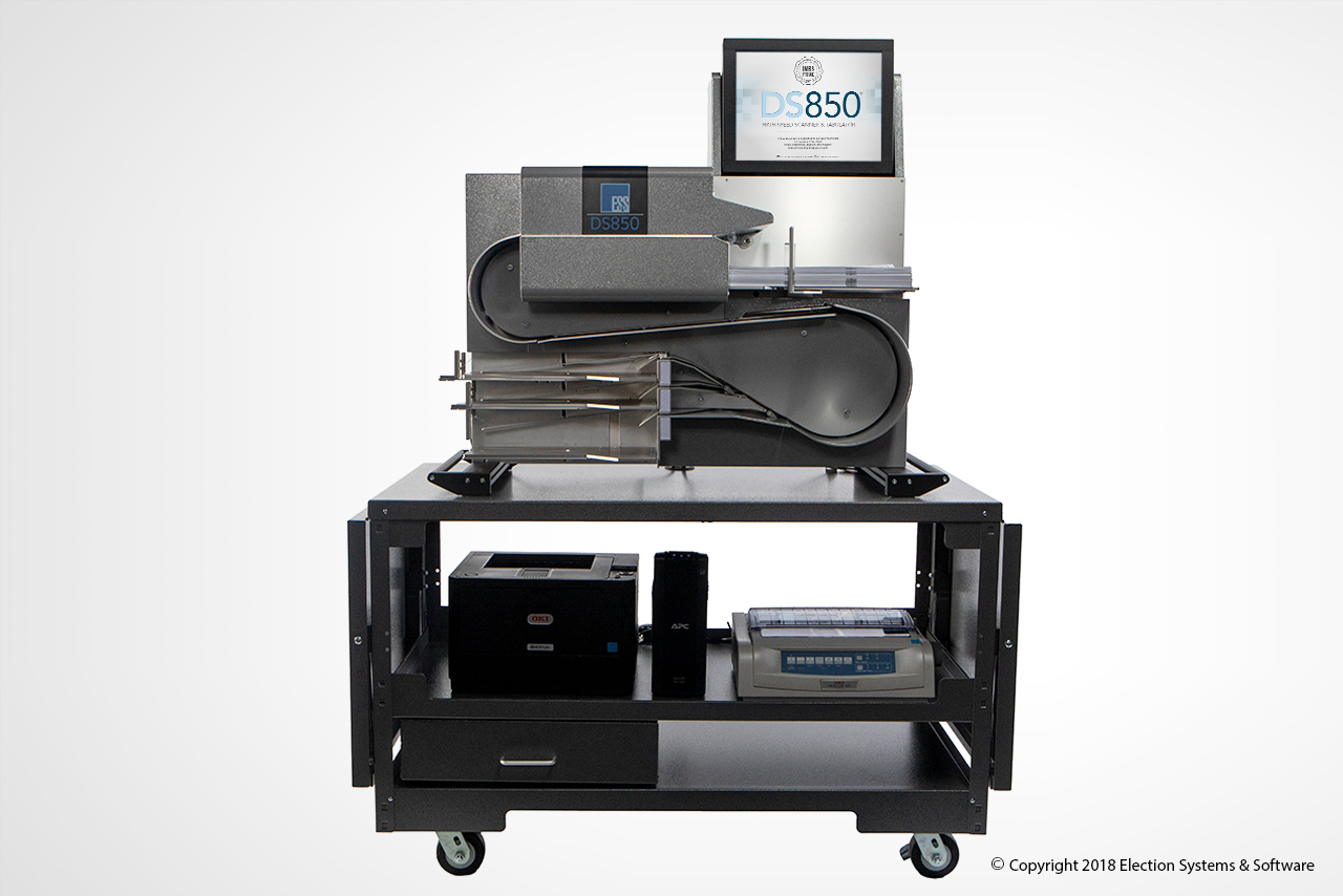The DS850 High Speed Central Scanner and Tabulator On Rolling Cart