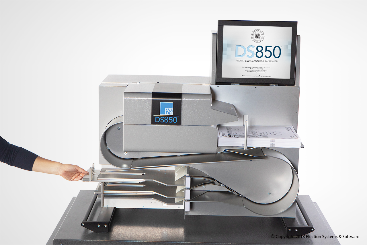 The DS850 High Speed Scanner and Tabulator Scans and Sorts Ballots