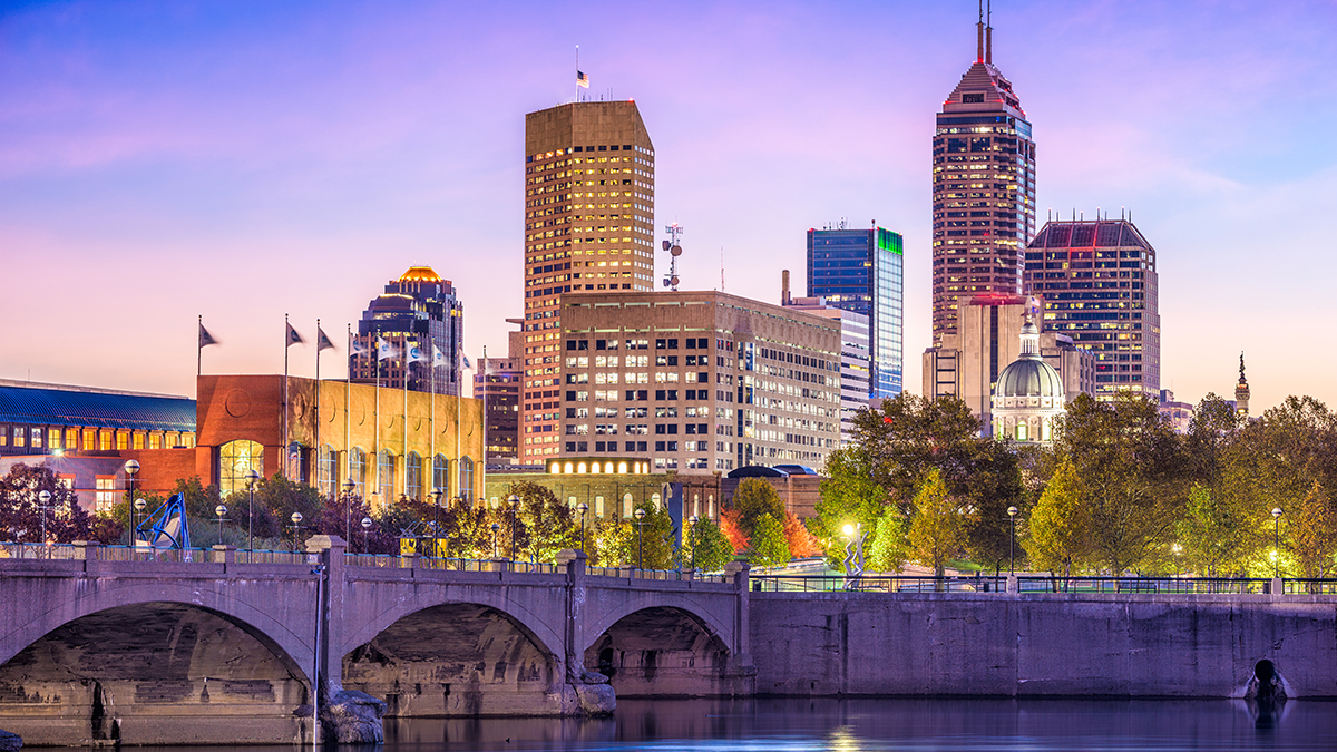 The skyline of Indianapolis, county seat of Marion County, Indiana