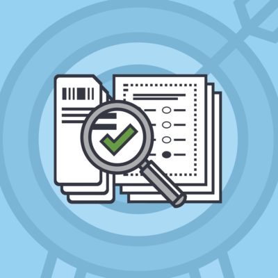 An icon showing a successful audit of voted ballots, one of multiple steps that election officials use to verify election accuracy.